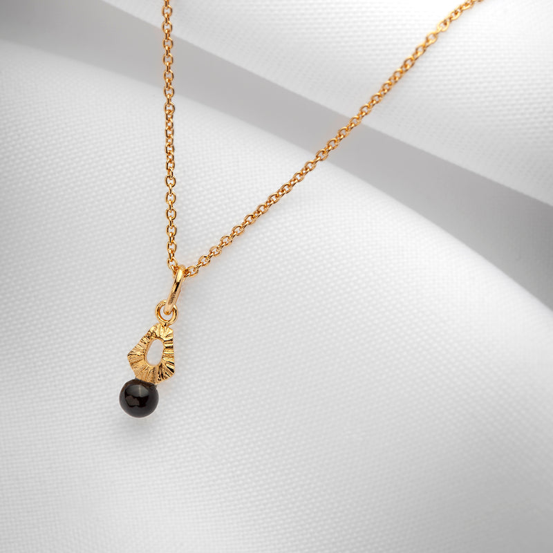 Tiny black onyx gold choker necklace