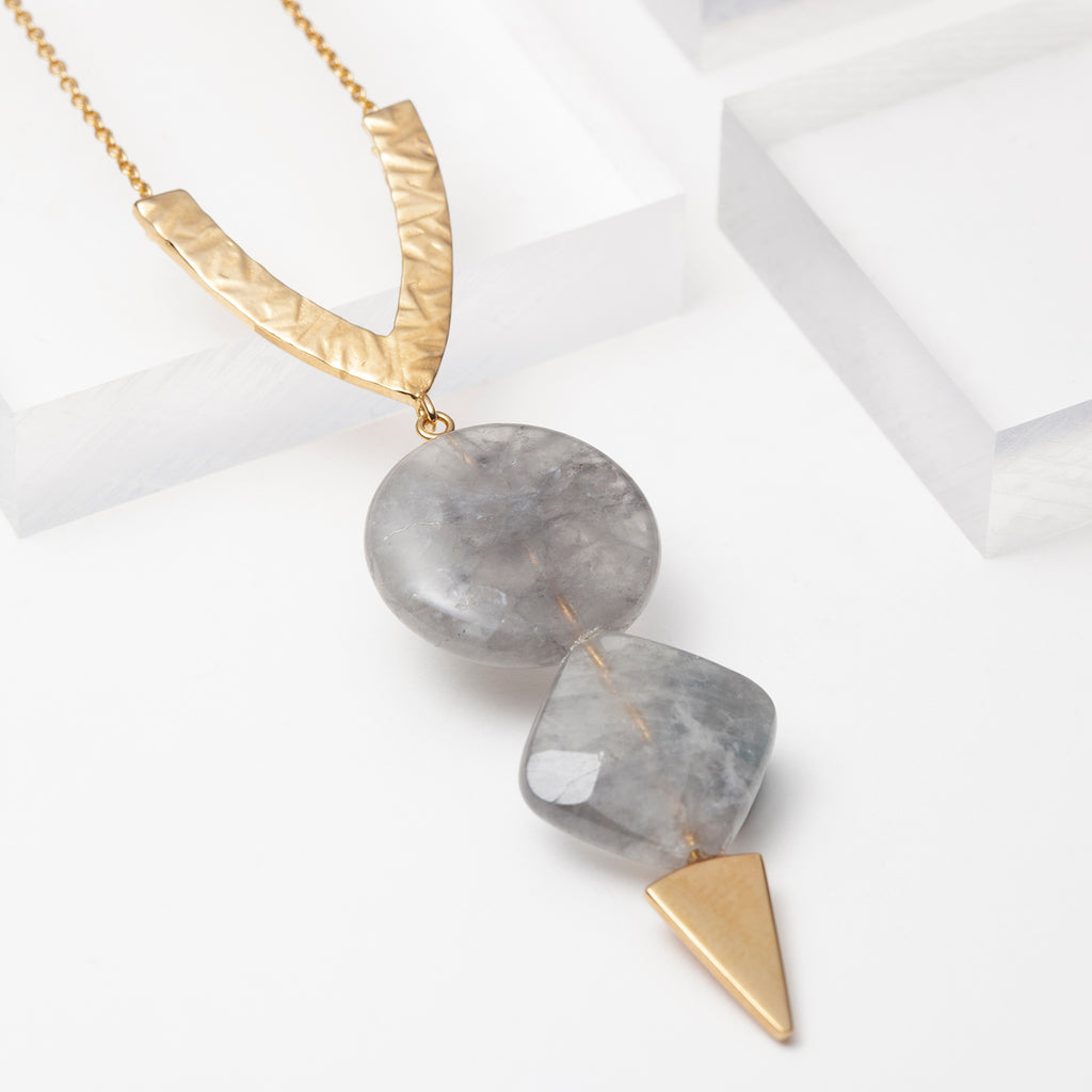 Grey quartz long geometric chain necklace in gold