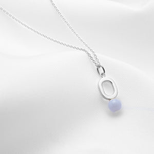 Oval silver pendant necklace with blue lace agate stone