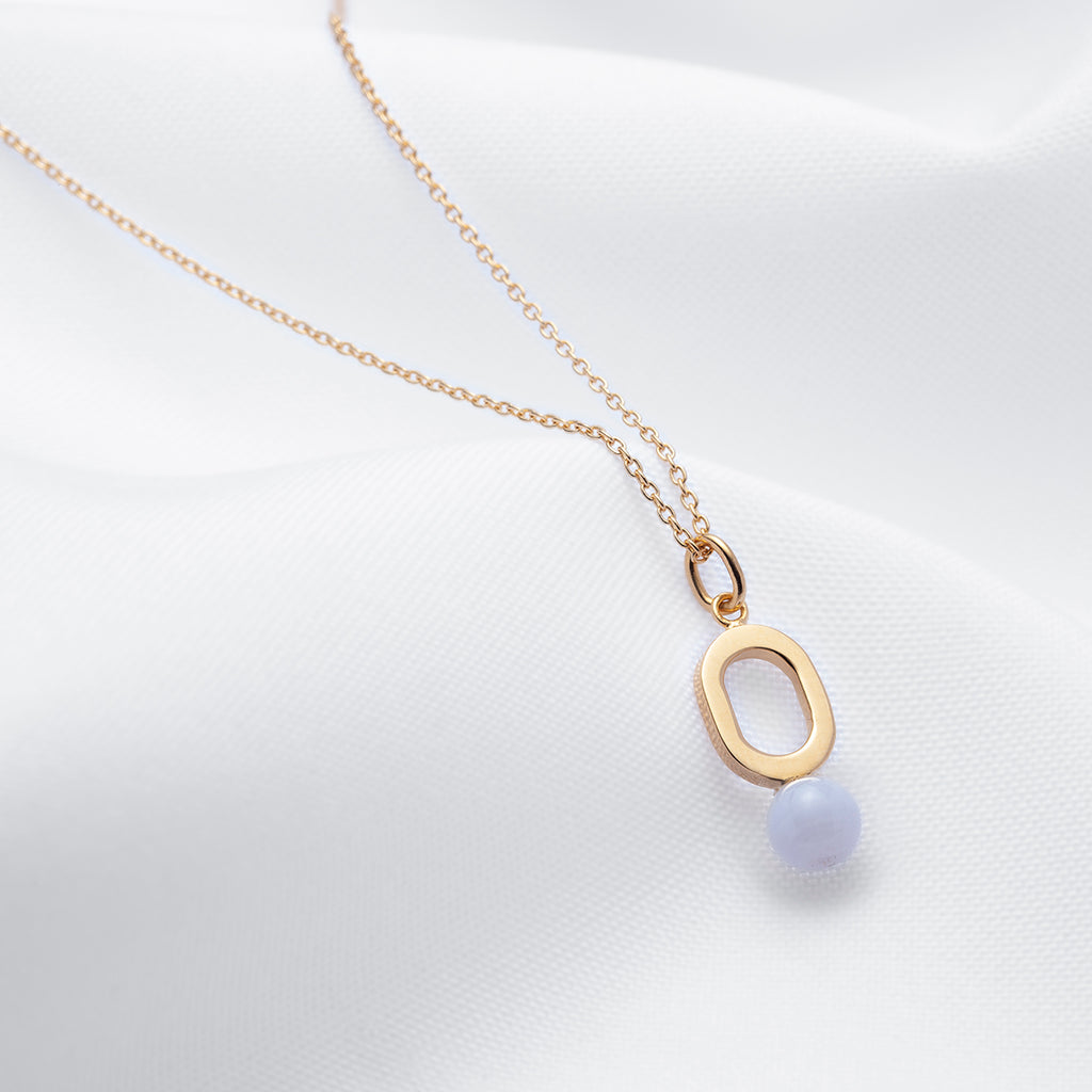 Small oval gold pendant necklace blue lace agate