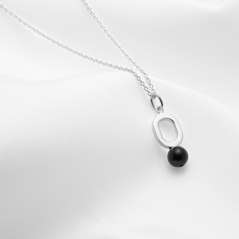 Sterling silver oval pendant necklace with black onyx stone