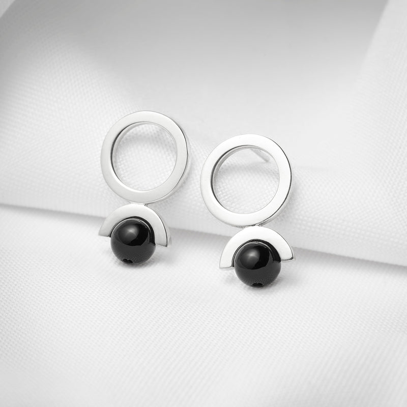 Open circle silver earrings black onyx