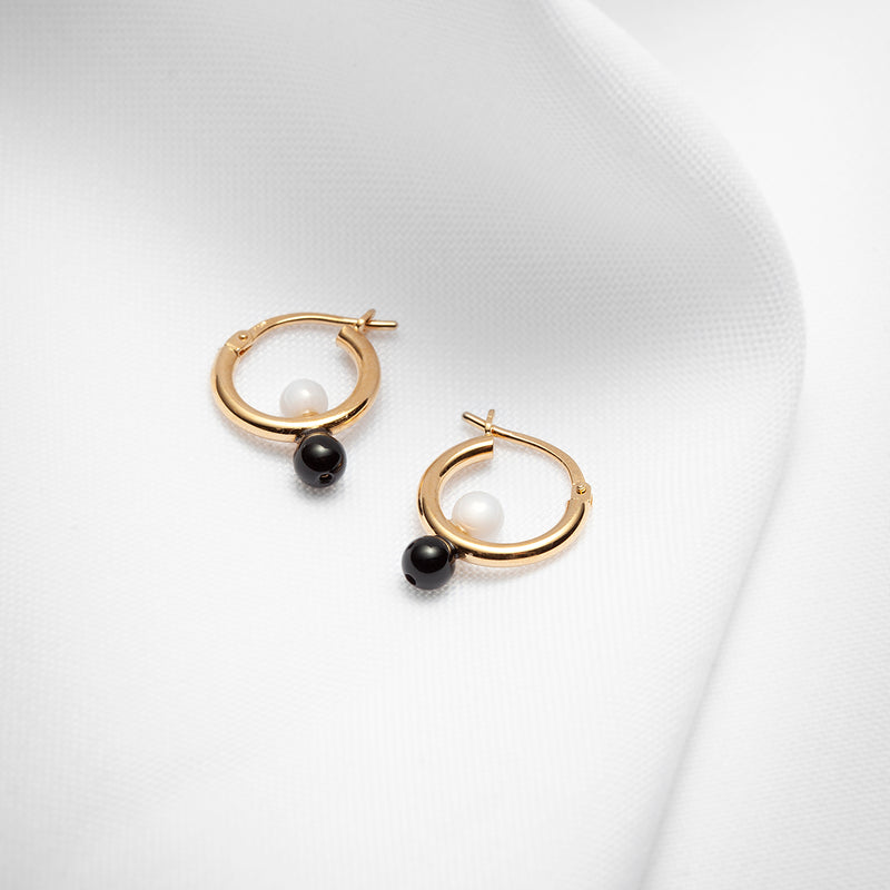 Gold vermeil onyx and agate small hinged hoop earrings