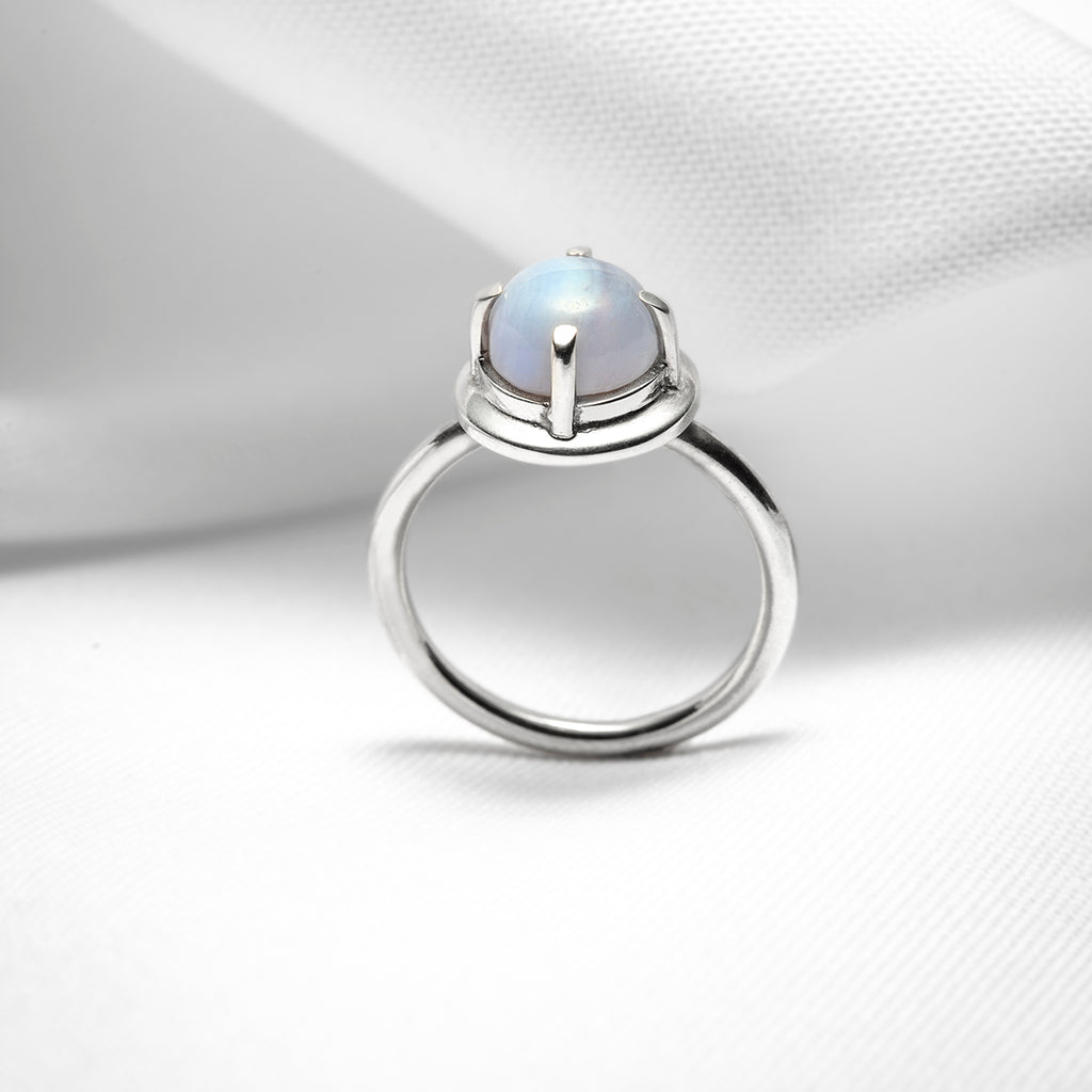 blue lace agate ring in sterling silver