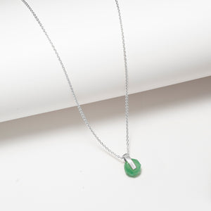 Sterling silver green aventurine circle and bar pendant necklace