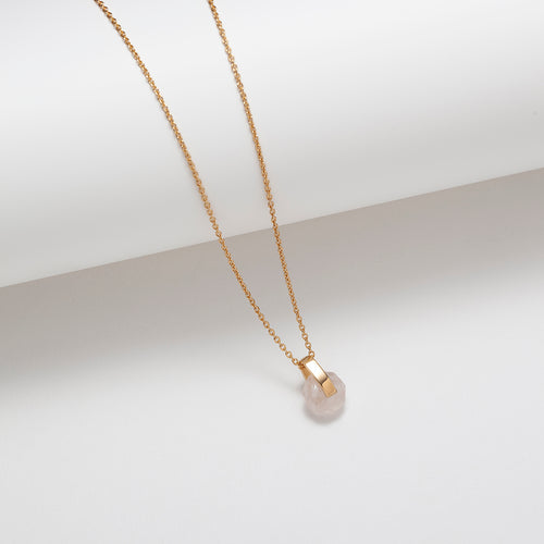 Gold plated rose quartz circle and bar pendant necklace
