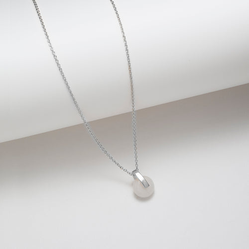 Sterling silver white jade bar pendant necklace