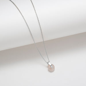 Sterling silver faceted rose quartz bar pendant necklace