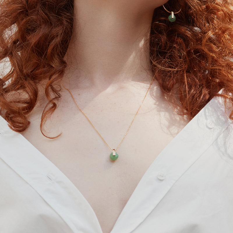 Gold plated green aventurine pendant necklace