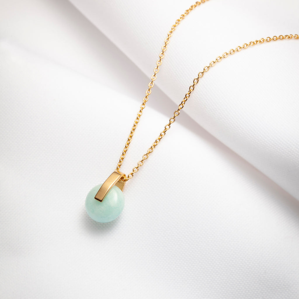 Rhea, blue amazonite pendant necklace