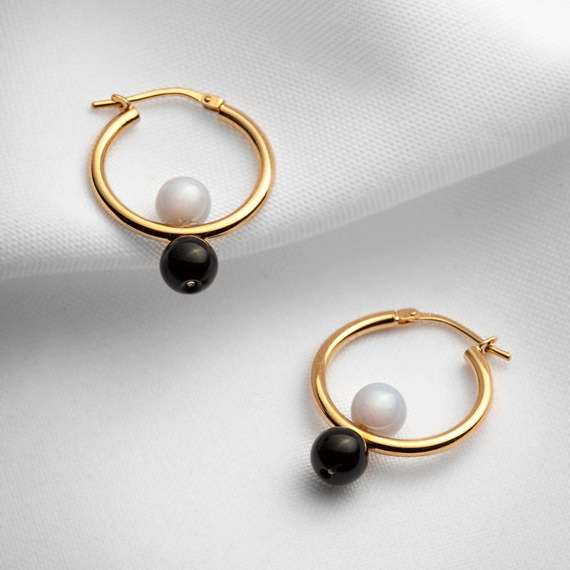 Gold plated vermeil 20 mm hoop earrings with black onyx and blue lace agate