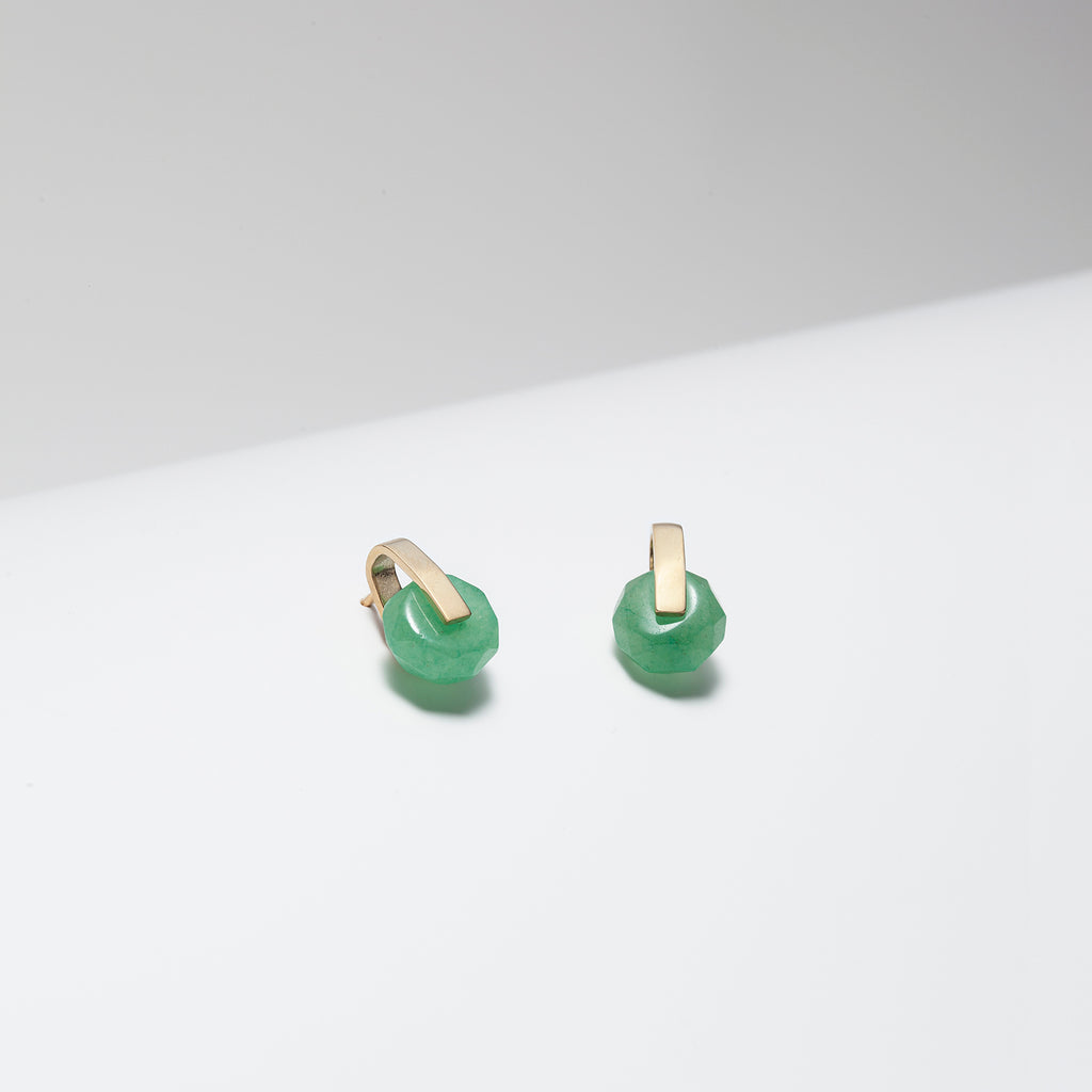 Green aventurine and gold plated bar stud earrings