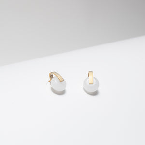 Gold plated white jade bar stud earrings
