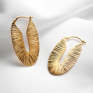 Chunky large oval hoop earrings gold plated vermeil