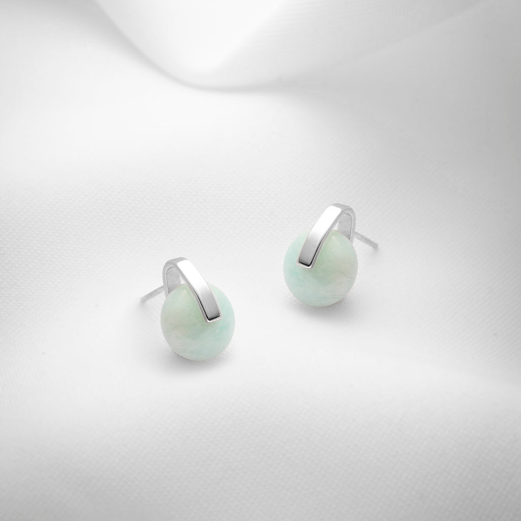 Modern blue amazonite stud earrings in sterling silver