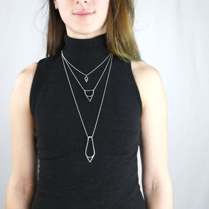 Short and long layered minimalist geometric silver necklaces