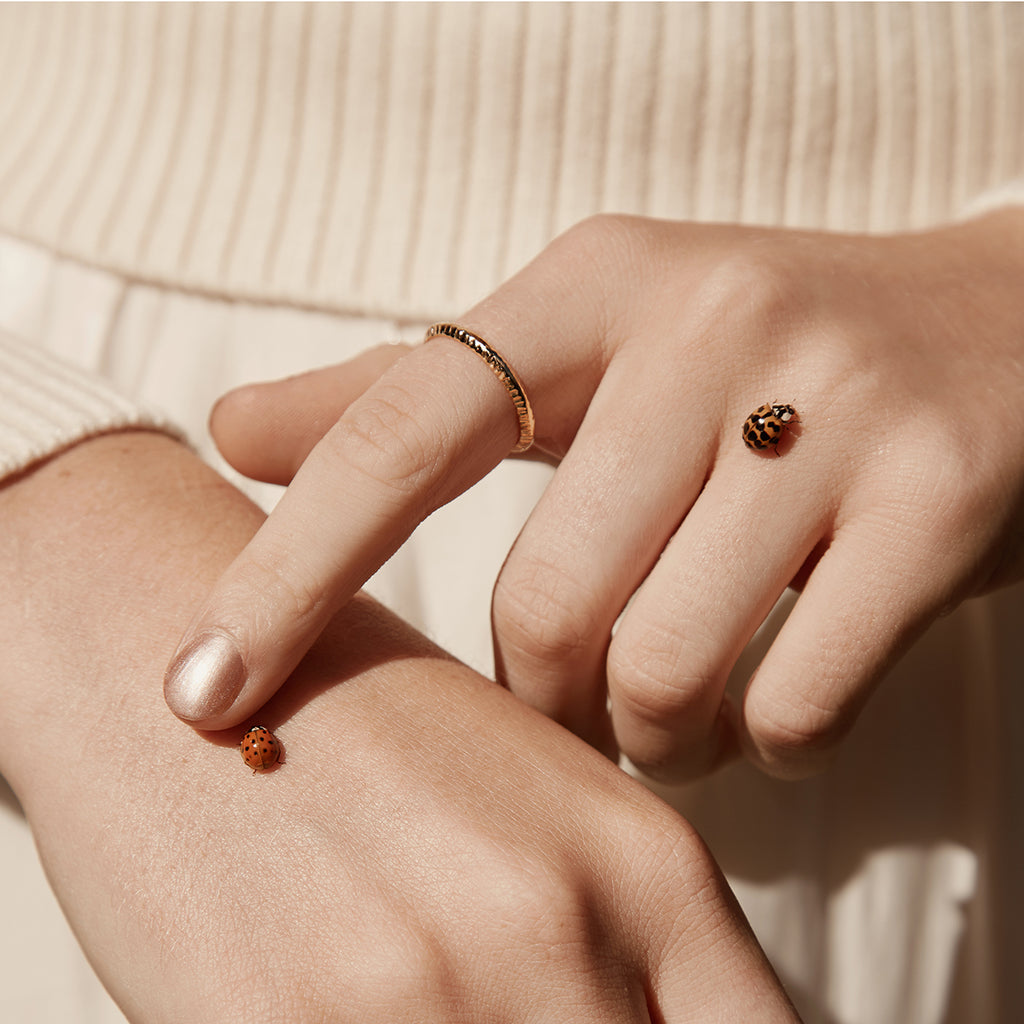 Gold vermeil plated thin band ring