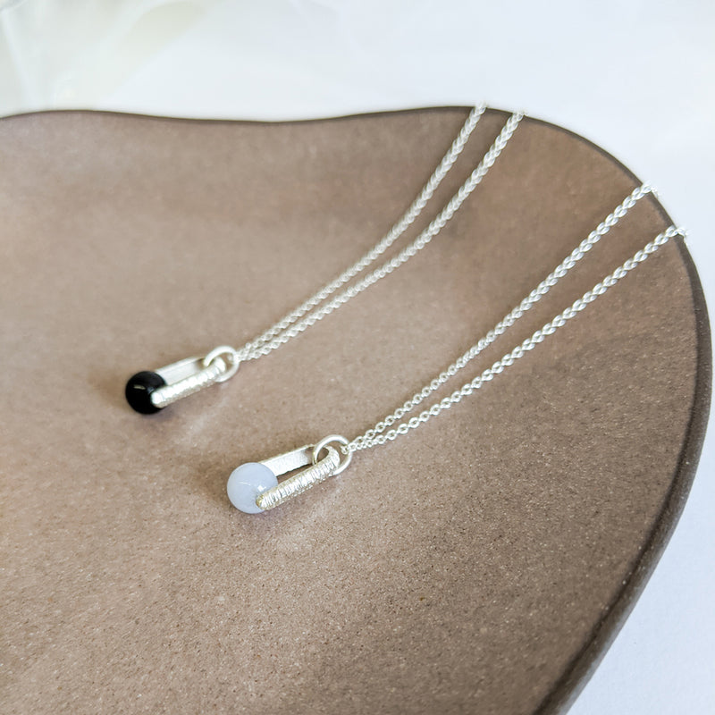 Floating stone pendant necklace, sterling silver