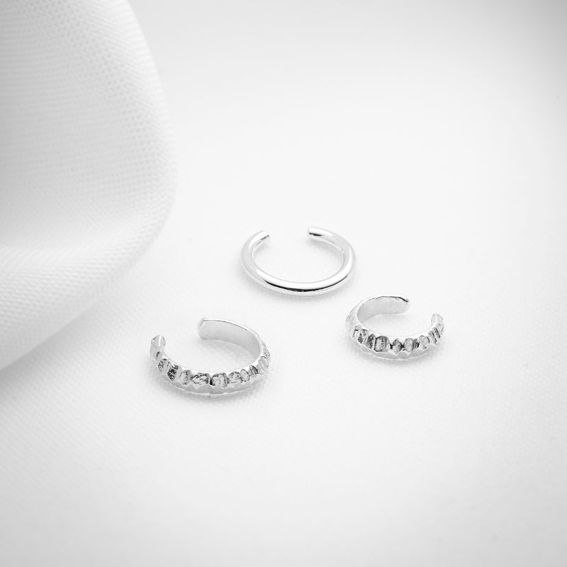 Silver ear cartilage cuff set of three
