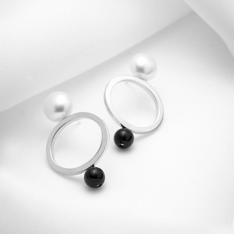 Big oval stud earrings solid 925 silver larges pearls and black onyx stone