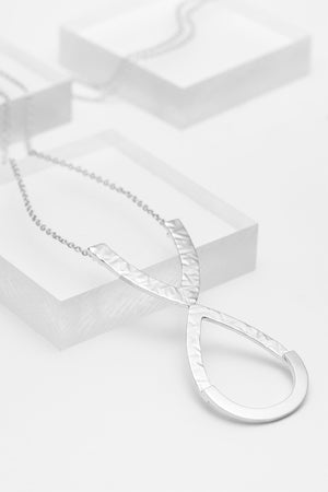 Sterling silver long textured teardrop necklace for women