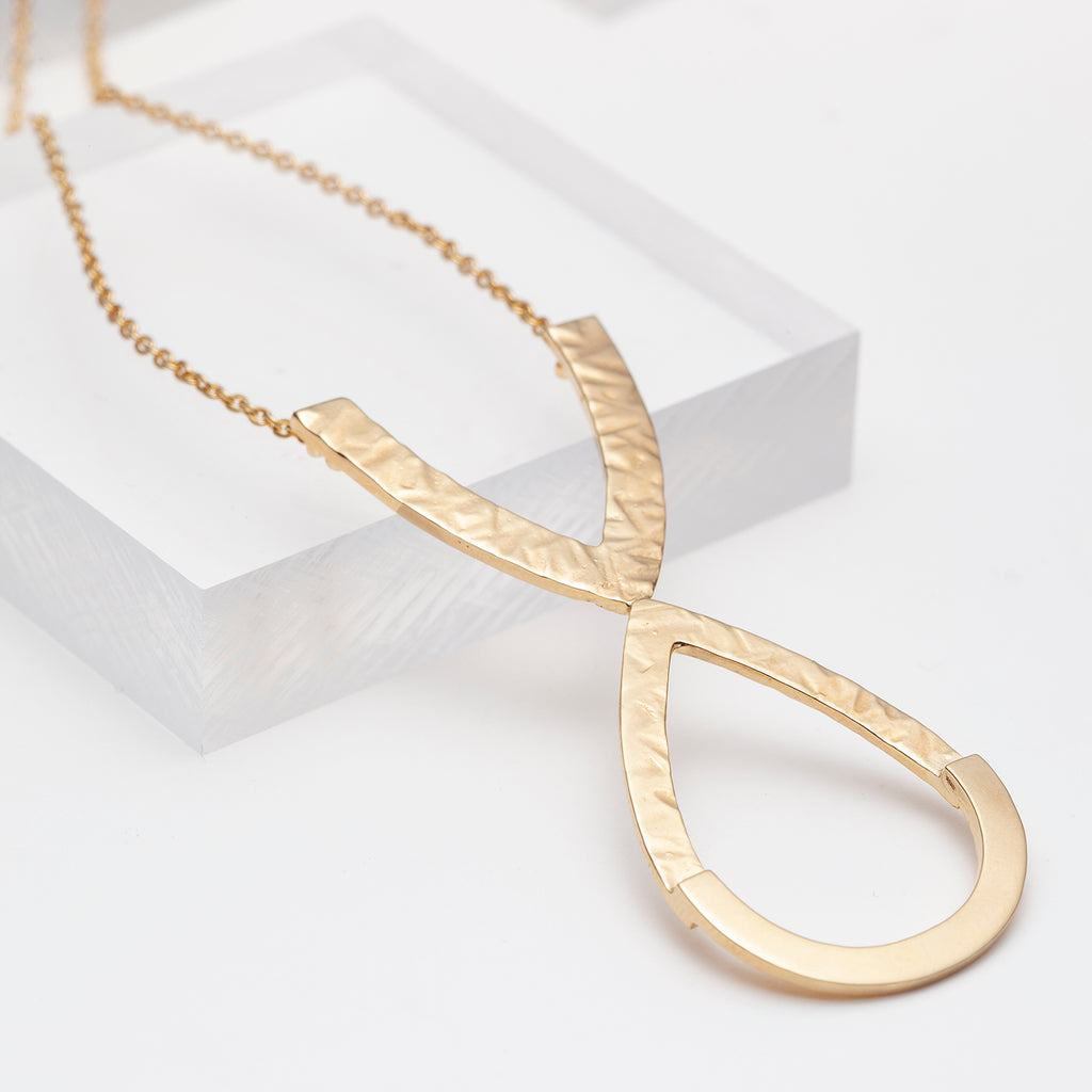 14k gold plated long hammered teardrop necklace