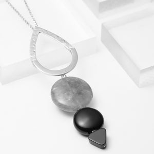 Violet, long teardrop necklace with grey quartz and black onyx