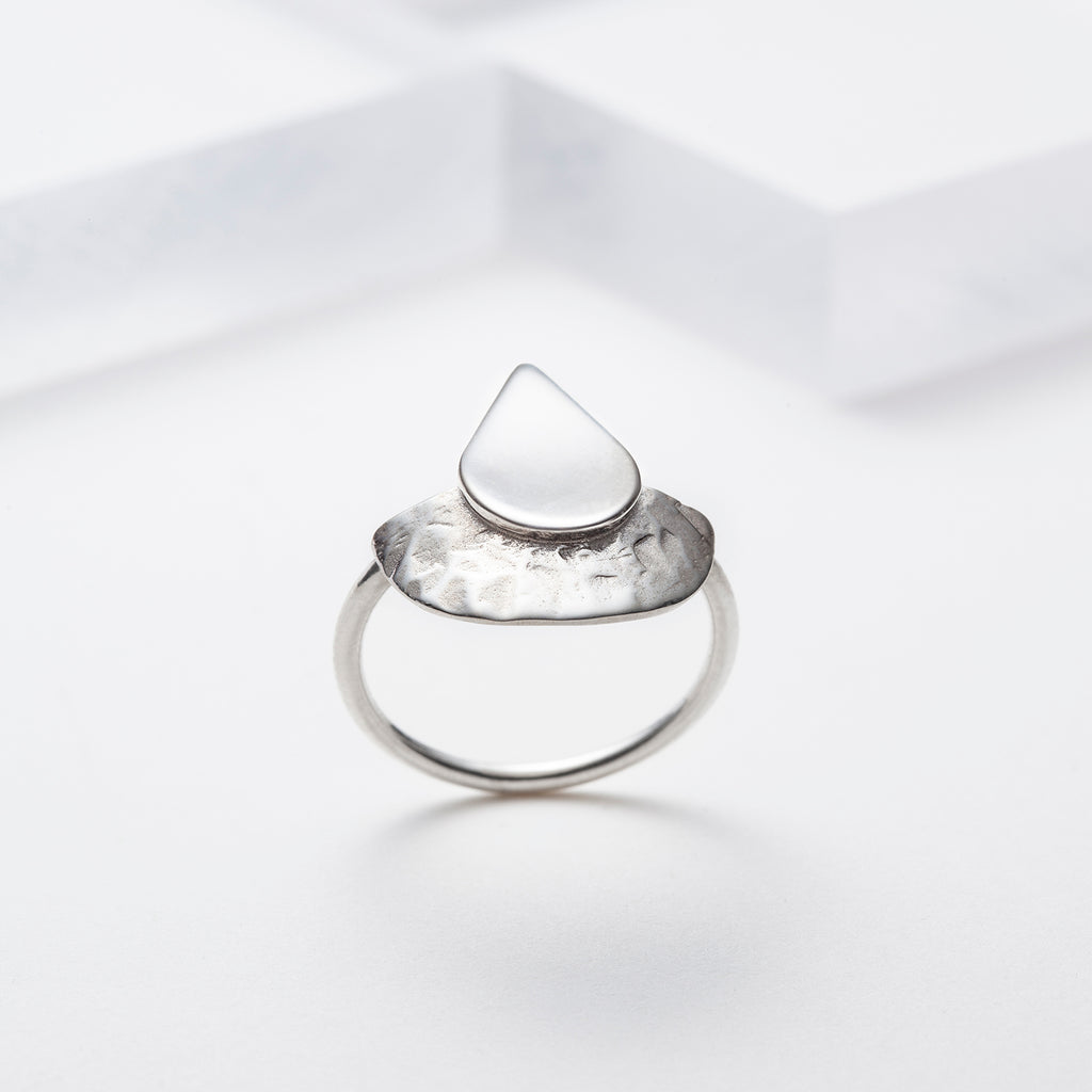 Teardrop sterling silver ring for women