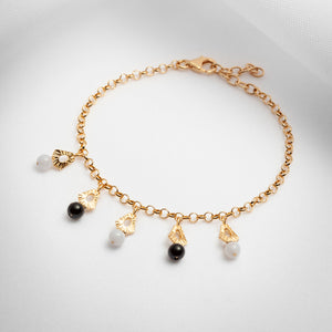 Gold vermeil chain charm bracelet with gemstones
