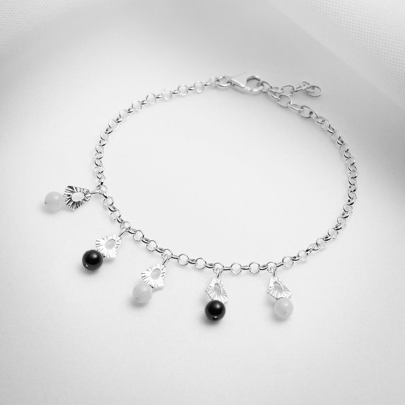 Sterling silver chain charm bracelet with gemstones