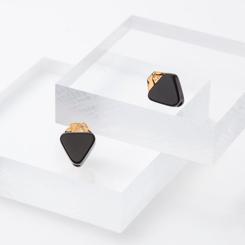 black onyx and gold studs