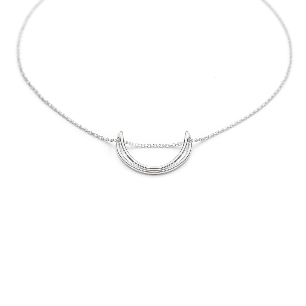 Replie U, Half circle minimal sterling silver pendant necklace