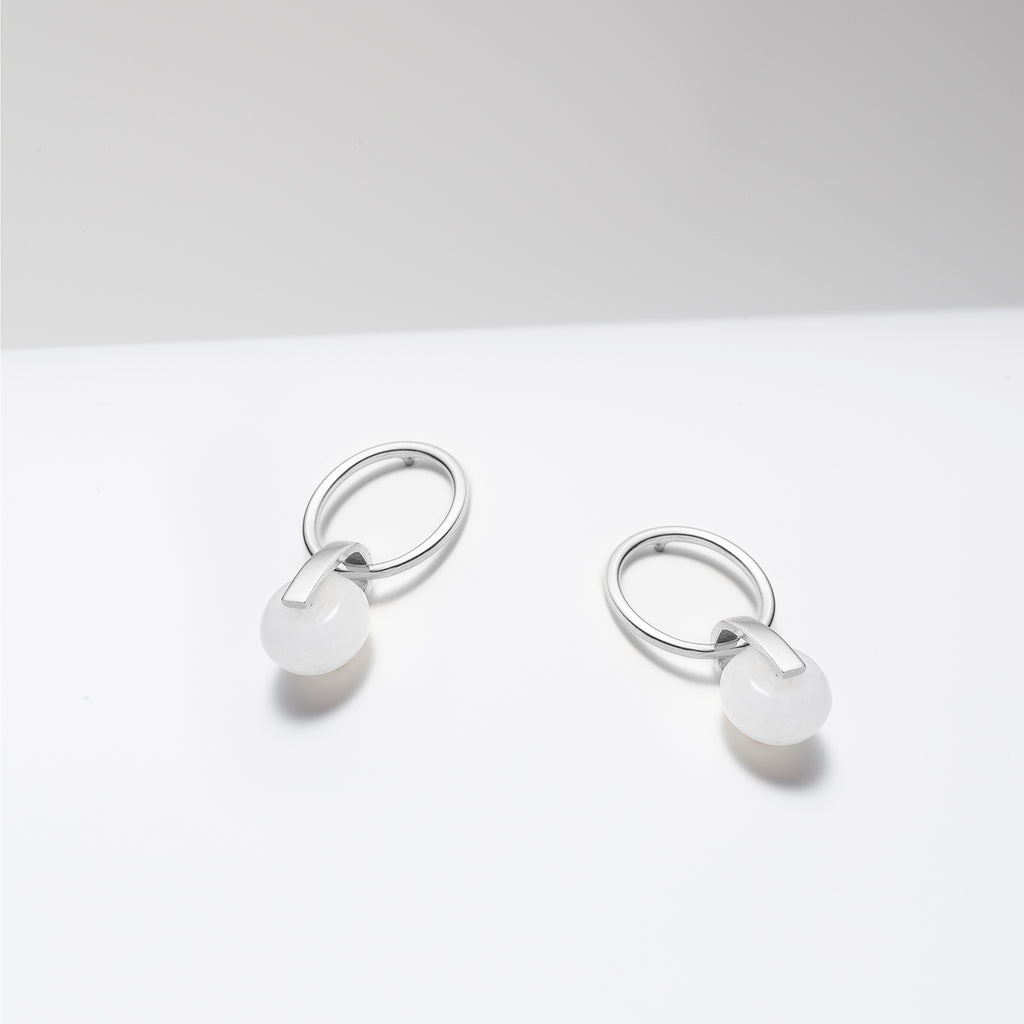 Sterling silver white jade drop earrings