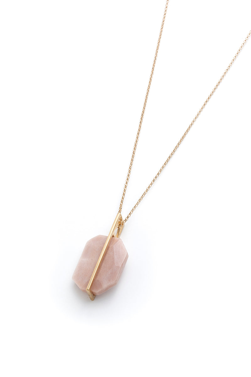 Zahra, long necklace with pink moonstone