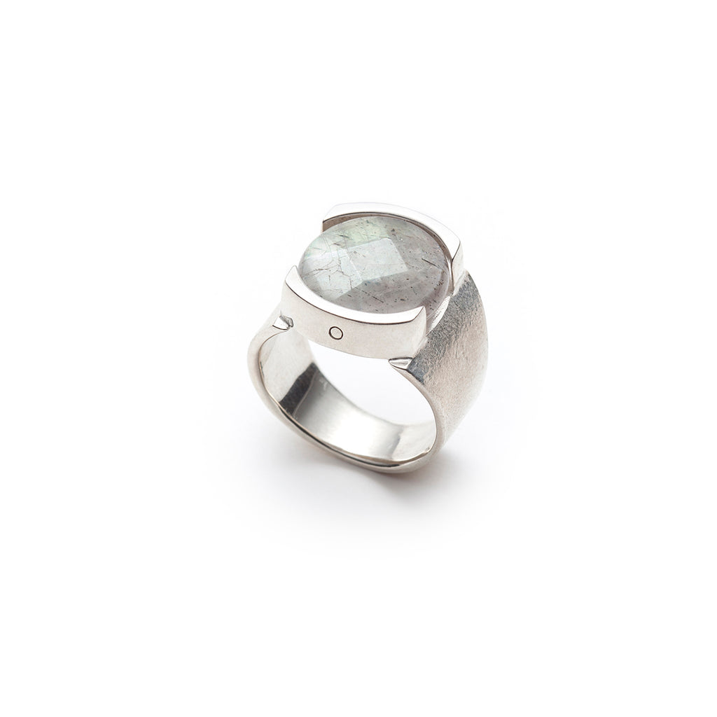 Large faceted labradorite textured silver ring