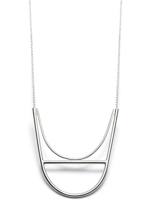 Arc, large U shape necklace in sterling silver