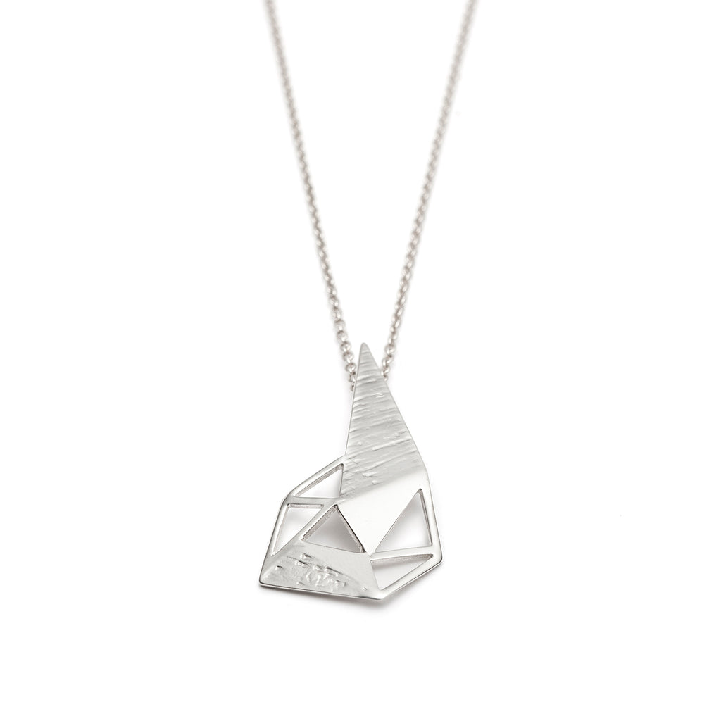 Long geometric silver necklace for women