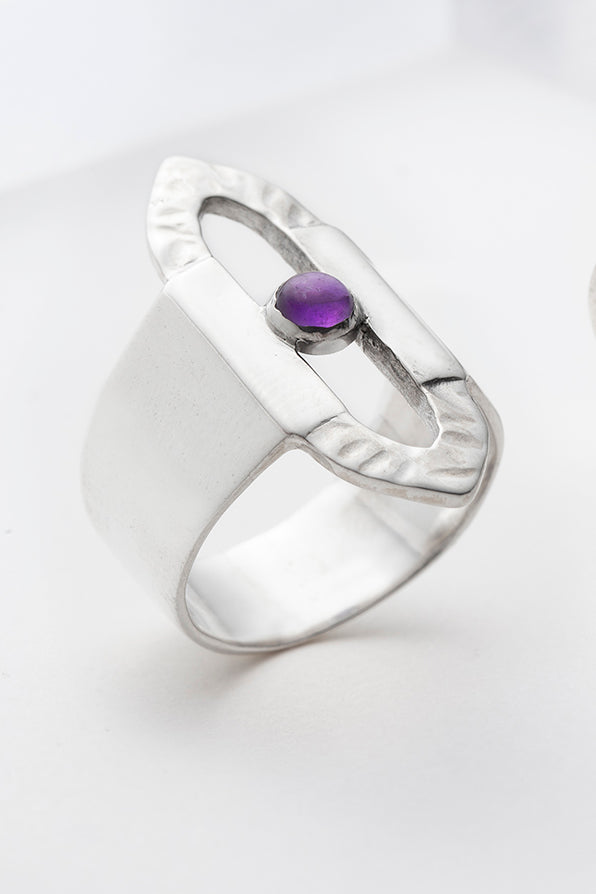 Large sterling silver ring with purple amethyst
