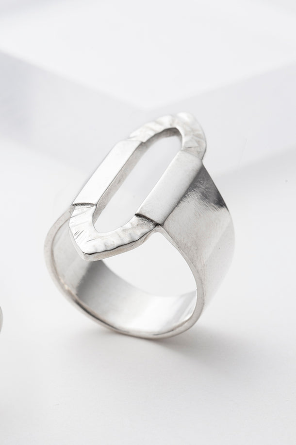 Solid wide sterling silver ring with texture
