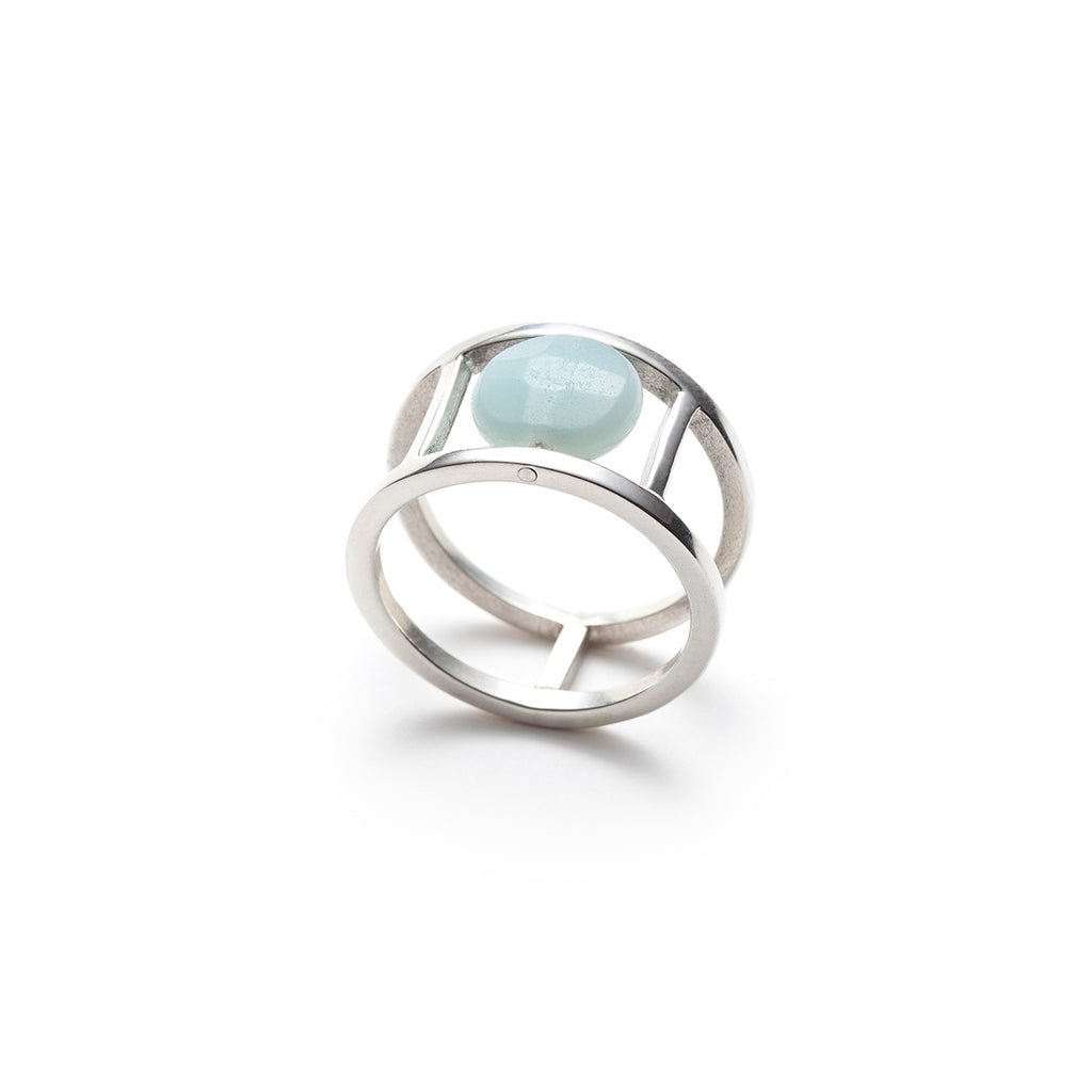 Clara, sterling silver and faceted blue amazonite cage ring