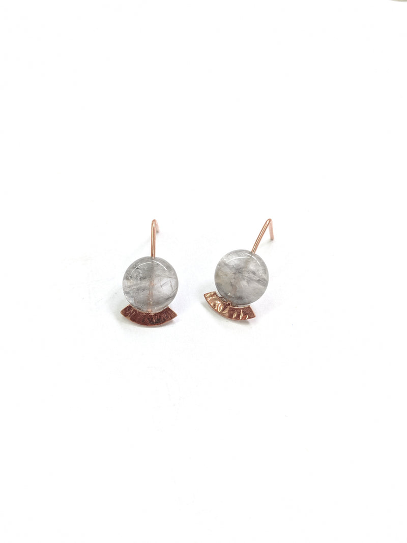 Rose gold plated long stem stud earrings with grey stones