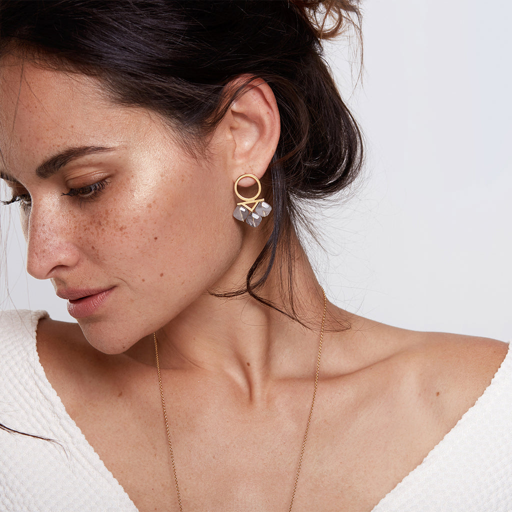 Eliza, gemstone statement earrings in sterling silver or gold plated