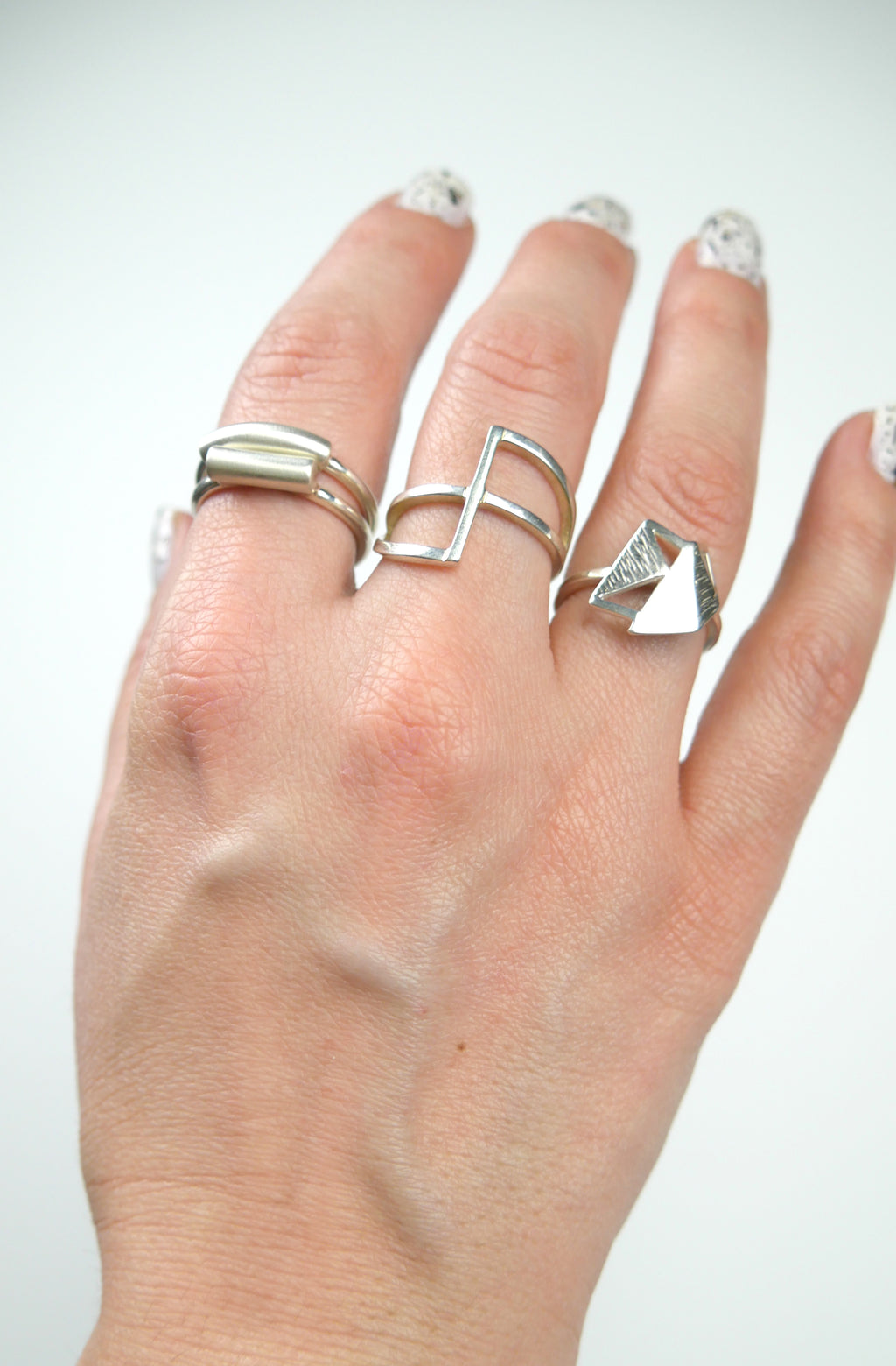 Straight line, minimalist sterling silver ring