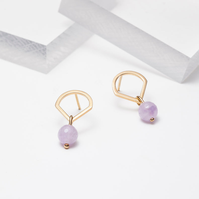 Lavender amethyst drop earrings in gold plated silver