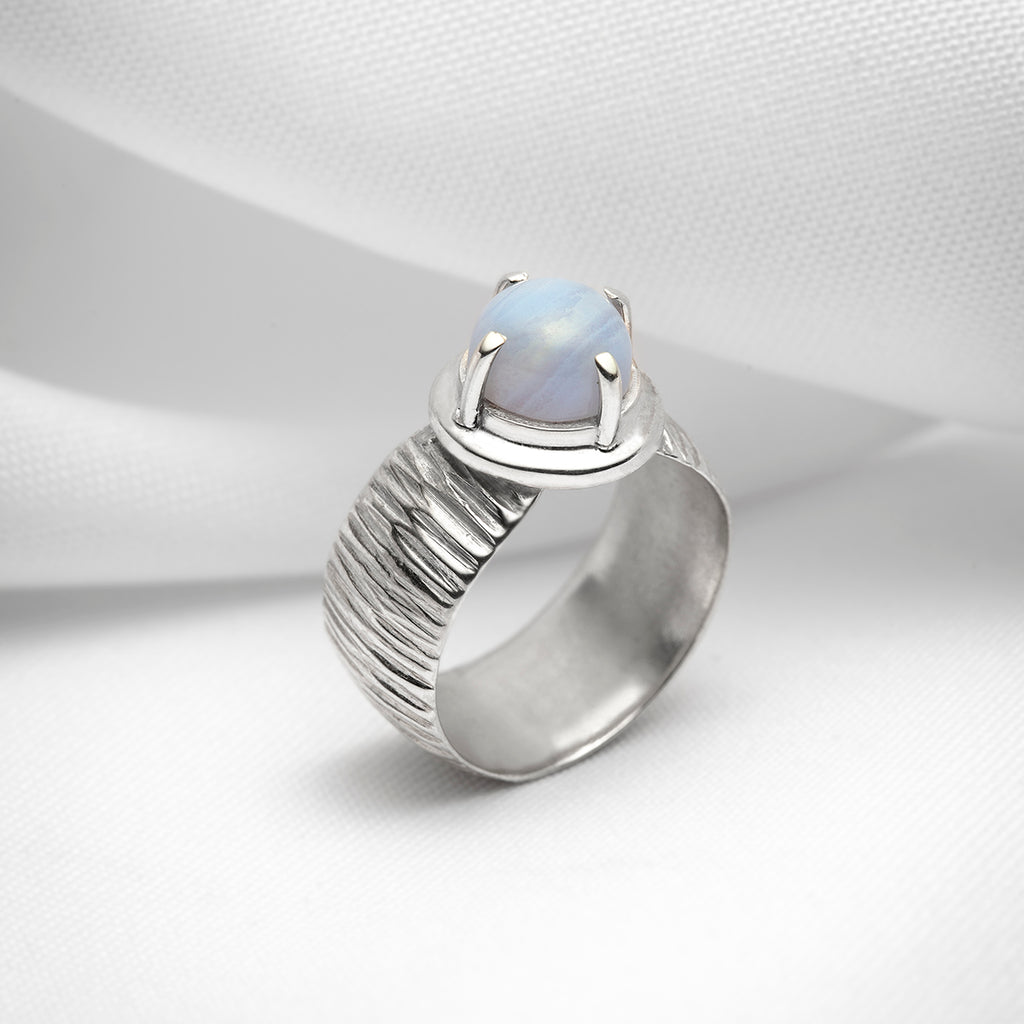 Handmade chunky silver ring with blue lace agate gemstone