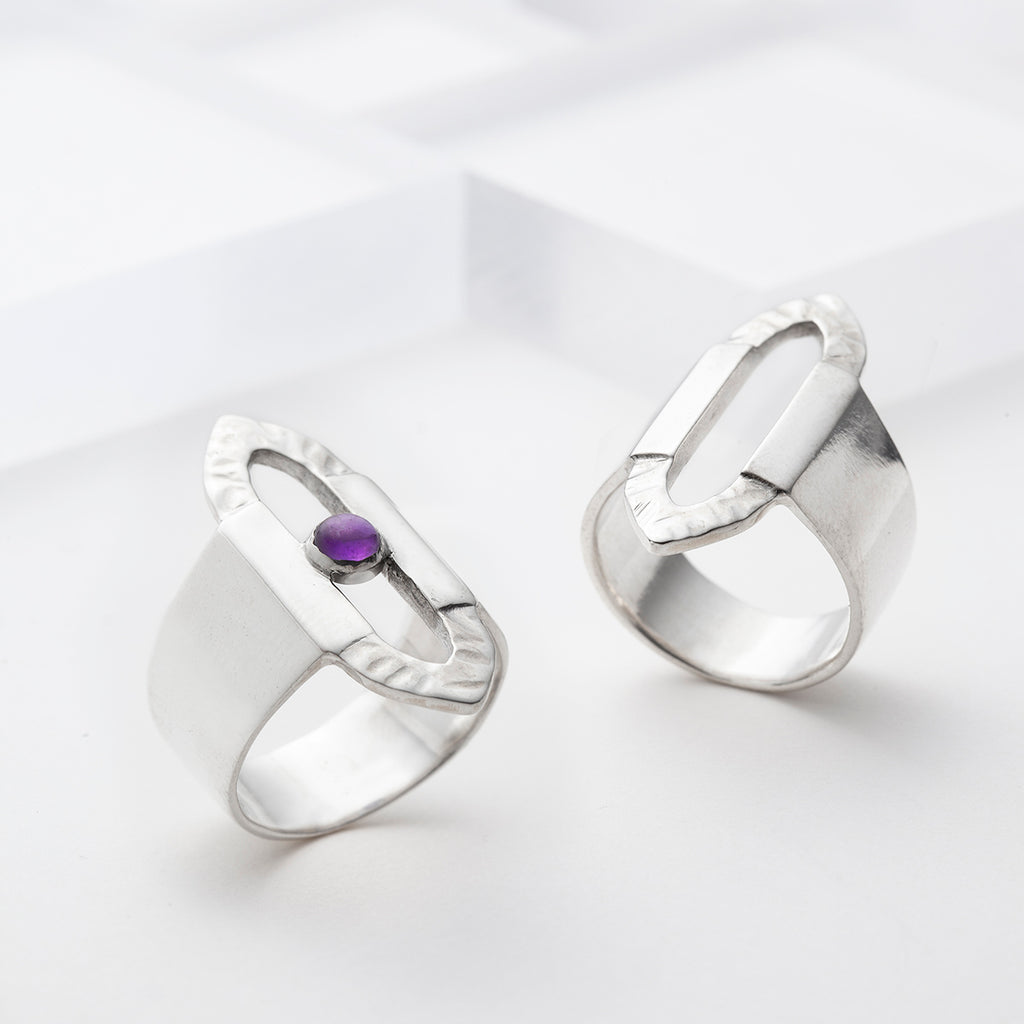 Wide sterling silver ring plain or with amethyst