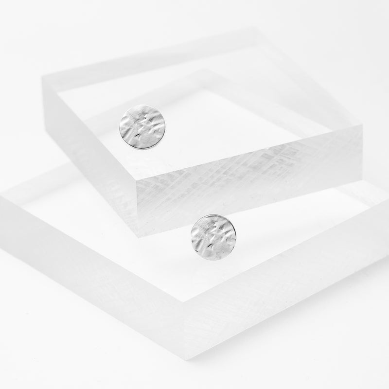Sterling silver hammered flat circle studs