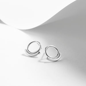 silver circle earrings studs