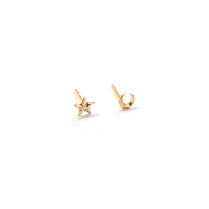 3d star and moon gold stud earrings