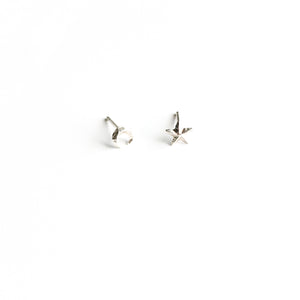 Sterling silver 3d star and moon stud earrings